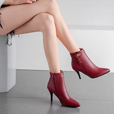 Kadın's Çizmeler Stiletto Topuk Sivri Uçlu PU Bootiler / Bilek Botları İş / Klasik Yaz / Sonbahar Kış Siyah / Badem / Kırmızı Şarap / Parti ve Gece / Zıt Renkli