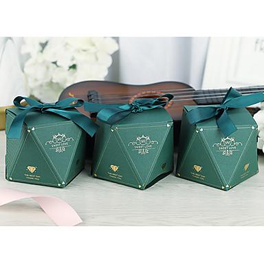 abordables Support de Cadeaux pour Invités-Irrégulier Papier durci Titulaire de Faveur avec Ruban Boîtes Cadeaux - 50 Pièces