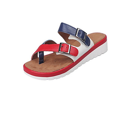 voordelige Damespantoffels & slippers-Dames Slippers & Flip-Flops Sleehak Open teen Gesp PU Informeel Zomer Rood / Kleurenblok
