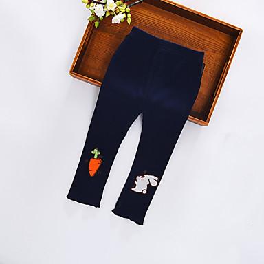 baratos Calças & Leggings para Meninas-Bébé Para Meninas Activo Estampado Estampado Calças Azul Marinha
