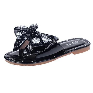 voordelige Damespantoffels & slippers-Dames Slippers & Flip-Flops Platte hak Strik PU Zomer Zwart / Amandel / Beige