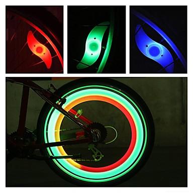 Недорогие Велосипедные фары и рефлекторы-Светодиодная лампа Велосипедные фары огни безопасности колесные огни Велосипедные фонари Горные велосипеды Велоспорт Водонепроницаемый Несколько режимов Будильник Аккумулятор CR2032 / IPX-4
