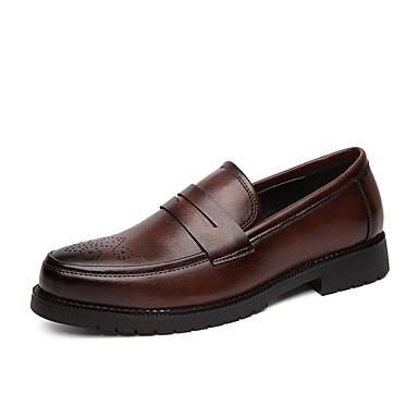 Erkek Ayakkabı PU Bahar / Sonbahar İş / Günlük Mokasen & Bağcıksız Ayakkabılar Parti ve Gece / Ofis ve Kariyer için Siyah / Kahverengi