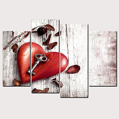 Boyama Haddelenmiş Kanvas Tablolar - Kalpler Klasik Modern Dört Panelli Sanatsal Baskılar