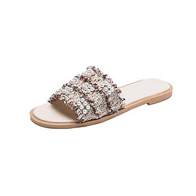 voordelige Damespantoffels & slippers-Dames Slippers & Flip-Flops Platte hak Open teen PU Zomer Beige