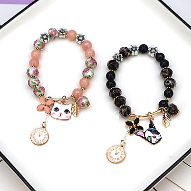 abordables Bracelet-Bracelet Femme Perlé Chat Chiens Elégant Bracelet Bijoux Noir Rose pour Cadeau