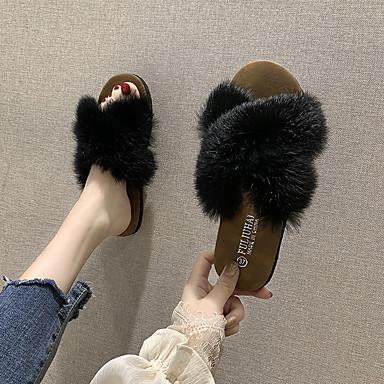 voordelige Damespantoffels & slippers-Dames Slippers & Flip-Flops Platte hak Ronde Teen Veer Katoen Zoet Herfst winter Zwart / Licht Groen / Beige