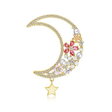 Kadın's Kübik Zirconia Broşlar Klasik MOON Şık Basit Vintage Tatlı Moda İnci Broş Mücevher Altın Gümüş Uyumluluk Parti Hediye Cadde Tatil Festival