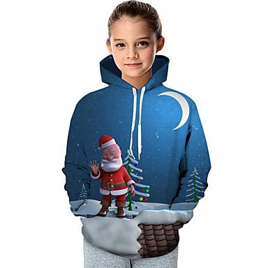 billige Hettegensere og gensere til jenter-Barn Baby Jente Aktiv Grunnleggende julenissen Snømann Galakse Trykt mønster Fargeblokk Trykt mønster Langermet Hettegenser og sweatshirt Blå