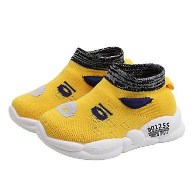 baratos Sapatos de Criança-Para Meninos Tricô Tênis Criança (9m-4ys) Conforto Preto / Amarelo / Vermelho Primavera