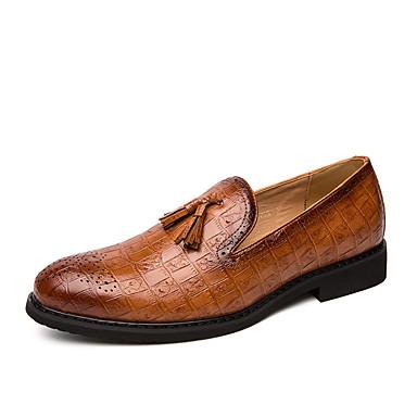 Erkek Ayakkabı PU Bahar / Sonbahar İş / Günlük Mokasen & Bağcıksız Ayakkabılar Parti ve Gece / Ofis ve Kariyer için Püsküllü Siyah / Kahverengi
