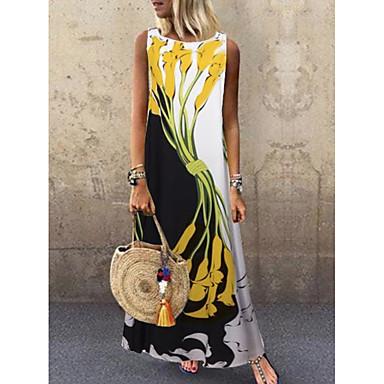 voordelige Nieuwe collectie-Dames Street chic Recht Jurk - Bloemen, Print Maxi