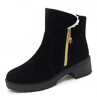 voordelige Dameslaarzen-Dames Laarzen Blok hiel Ronde Teen Imitatiebont Brits Herfst winter Zwart / Leger Groen / Grijs