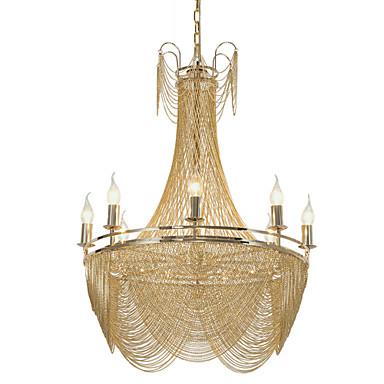 8 ışıklar luxry avize / alunmium stream kolye ışıkları / altın / gümüş galvanik için dükkanı odası oturma odası restoran / led5w e12 / 14 sıcak beyaz ışık dahil
