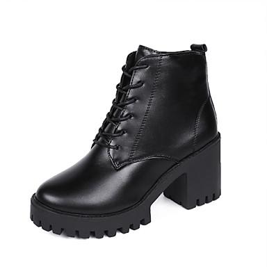 voordelige Dameslaarzen-Dames Laarzen Blok hiel Ronde Teen PU Brits Herfst winter Zwart