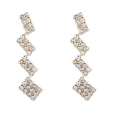 baratos Bijuteria de Mulher-Mulheres Brincos Compridos Longas Torre Imitações de Diamante Brincos Jóias Dourado Para Diário 1 par
