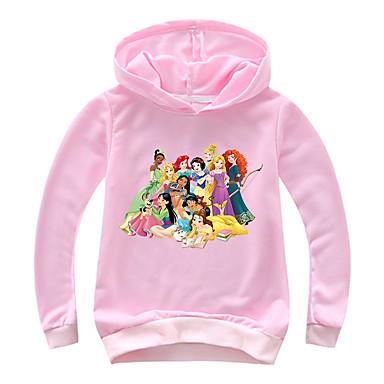 baratos Moletons Para Meninas-Infantil Bébé Para Meninas Básico Estampado Estampado Manga Longa Algodão Moleton & Blusa de Frio Rosa