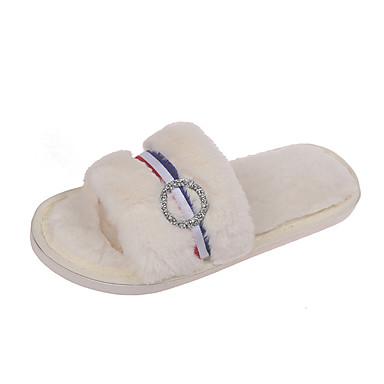voordelige Damespantoffels & slippers-Dames Slippers & Flip-Flops Platte hak Ronde Teen Imitatiebont Herfst winter Zwart / Beige / Grijs
