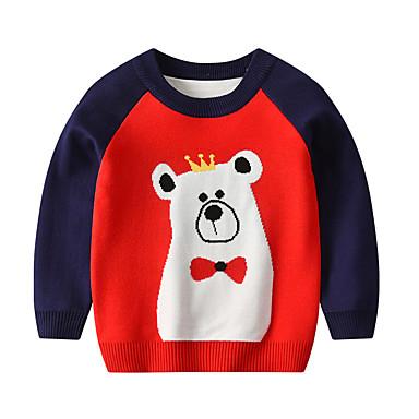 baratos Suéteres & Cardigans para Meninos-Infantil Bébé Para Meninos Activo Básico Geométrica Estampado Estampado Manga Longa Suéter & Cardigan Vermelho