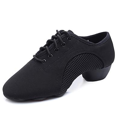 Kadın's Kanvas Caz Dans Ayakkabıları Topuklular Kalın Topuk Siyah