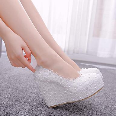 Kadın's Düğün Ayakkabıları Dolgu Topuk Yuvarlak Uçlu İmistasyon İnci / Saten Çiçek PU Vintage / Tatlı İlkbahar & Kış / İlkbahar yaz Beyaz / Parti ve Gece