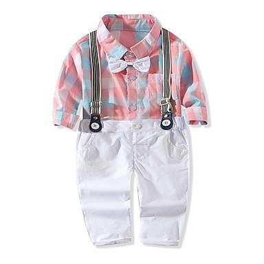 billige Babyklær Gutter-Baby Gutt Grunnleggende Rutet Langermet Normal Tøysett Lyseblå