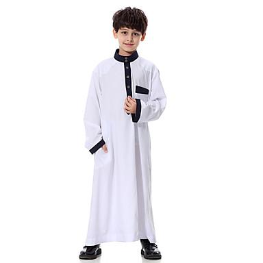 baratos Camisas para Meninos-Infantil Para Meninos Básico Sólido Manga Longa Blusa Branco