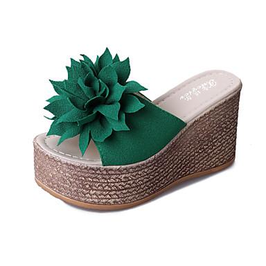 voordelige Damessandalen-Dames Slippers & Flip-Flops Sleehak Open teen  Satijnen bloem Microvezel Klassiek Wandelen Zomer Zwart / Groen / Beige