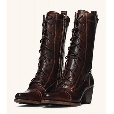 Kadın's Çizmeler Kalın Topuk Sivri Uçlu PU Yarı-Diz Boyu Çizmeler Tatlı / Minimalizm İlkbahar & Kış / İlkbahar yaz Siyah / Kahverengi
