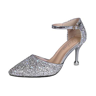 Kadın's Sandaletler Minik Topuk Sivri Uçlu PU Günlük Yaz Altın / Gümüş