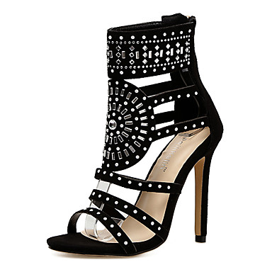 Kadın's Sandaletler Stiletto Topuk Taşlı Sentetikler Tatlı / Minimalizm İlkbahar & Kış / Yaz Siyah / Yeşil / Düğün / Parti ve Gece