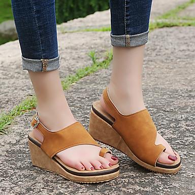 Kadın's Sandaletler Dolgu Topuk Suni Deri / PU Sonbahar / İlkbahar yaz Siyah / Deve / Leopar