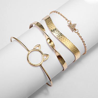 abordables Bracelet-4pcs Parure Bracelet Femme Chat Classique Bracelet Bijoux Jaune pour Soirée Cadeau Quotidien Vacances Festival
