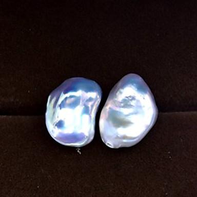 hesapli Moda Küpeler-Kadın's Beyaz İnci Vidali Küpeler Eşleşmeyen Küpeler Klasik Gözyaşı Sanatsal Asyalı Vintage Barroco Zarif İnci S925 Gümüş Küpeler Mücevher Gümüş Uyumluluk Hediye Günlük Balo Tatil Çalışma 1 çift