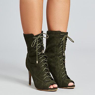 povoljno Ženske čizme-Žene Čizme Stiletto potpetica Peep Toe Brušena koža Čizme gležnjače / do gležnja Proljeće & Jesen Crn / Vojska Green / Crvena