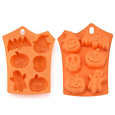 cheap Happy Halloween-1pc Silica Gel 3D Halloween DIY Cooking Utensils Cake Molds Bakeware tools