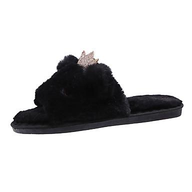 povoljno Ženske cipele-Žene Papuče i japanke Ravna potpetica Otvoreno toe Umjetno krzno slatko / minimalizam Jesen zima Crn / Pink / Bež