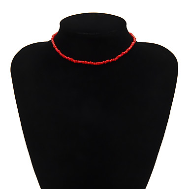 abordables Collier-Collier Collier de perles Femme Romantique Ethnique Le style mignon Noir Noir blanc Blanche Jaune Rouge Bleu 29 cm Colliers Tendance Bijoux 1pc pour Quotidien
