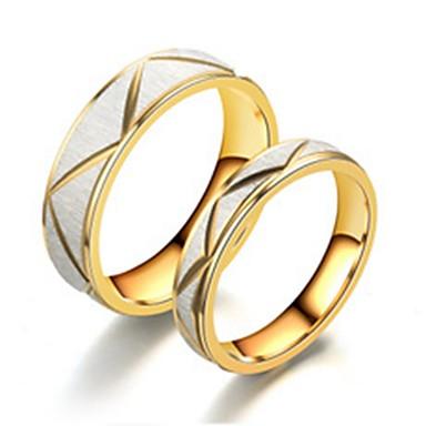 baratos Bijuteria de Mulher-Casal Anéis de Casal / Anel 2pcs Dourado Aço Inoxidável / Aço Titânio Circular Básico / Fashion Noivado / Presente / Diário Jóias de fantasia