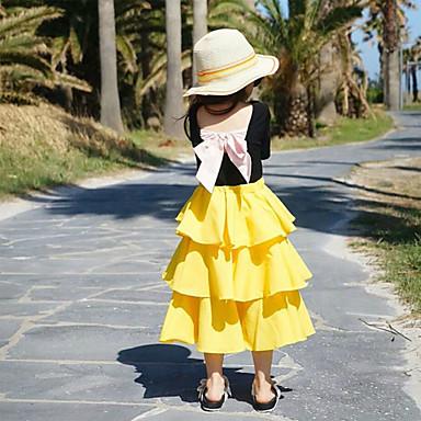 baratos Saias para Meninas-Infantil Para Meninas Básico Sólido Saia Amarelo