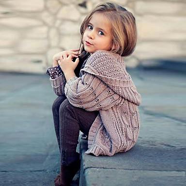 baratos Suéteres & Cardigans para Meninas-Infantil Para Meninas Moda de Rua Sólido Manga Longa Suéter & Cardigan Cinzento