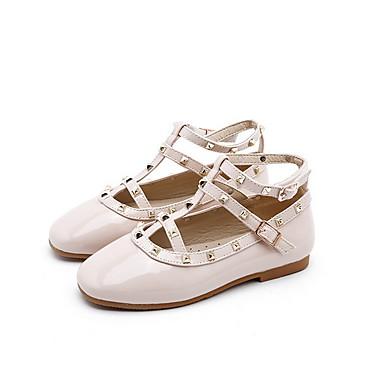 baratos Sapatos de Criança-Para Meninas Couro Ecológico Rasos Little Kids (4-7 anos) Conforto Tachas Preto / Amêndoa Verão