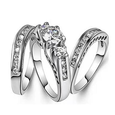 abordables Bague-Femme Bague / Anneaux 3pcs Argent Imitation Diamant / Alliage Forme Géométrique Tendance / Coréen / Mode Quotidien Bijoux de fantaisie