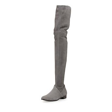 voordelige Dameslaarzen-Dames Laarzen Platte hak Gesloten teen Suède / Imitatieleer Over de knie laarzen Brits / minimalisme Winter Zwart / Grijs
