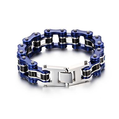 voordelige Herensieraden-Heren Dames Zwart Armband Schakelketting Fietsen Punk Roestvast staal Armband sieraden Blauw Voor Dagelijks Carnaval Straat Feestdagen Club