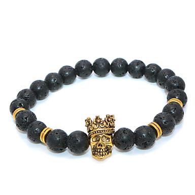 voordelige Herensieraden-Heren Dames Kralenarmband Klassiek Masker Casual / Sporty Etnisch Steen Armband sieraden Wit / Goud Voor Dagelijks Straat