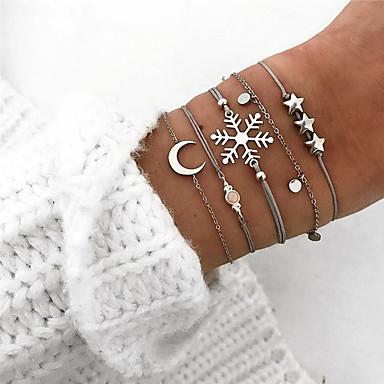 abordables Bracelet-5pcs Parure Bracelet Femme Géométrique Etoile Flocon de Neige Elégant Bracelet Bijoux Argent pour Cadeau
