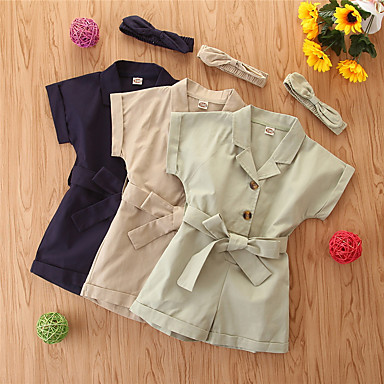 cheap Girls' Pants & Leggings-Kids Girls' Overall & Jumpsuit Children's Day Khaki Royal Blue Light Green Solid Colored Cotton Basic