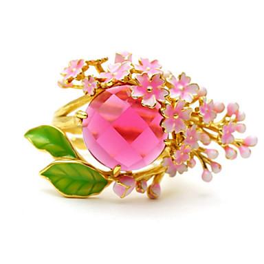 billige Motering-Dame Ring 1pc Rosa Fuskediamant / Legering Rund Koreansk / Mote / søt stil Daglig / Skole / Gate Kostyme smykker