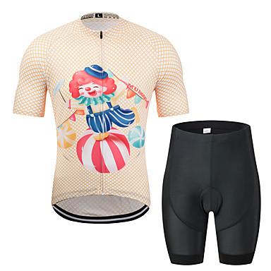 MUBODO Erkek Kısa Kollu Şortlu Bisiklet Forması - Siyah / Turuncu Bisiklet Giysi Takımları Nefes Alabilir Nem Emici Hızlı Kuruma Spor Dalları Tül Dağ Bisikletçiliği Yol Bisikletçiliği Giyim / Streç